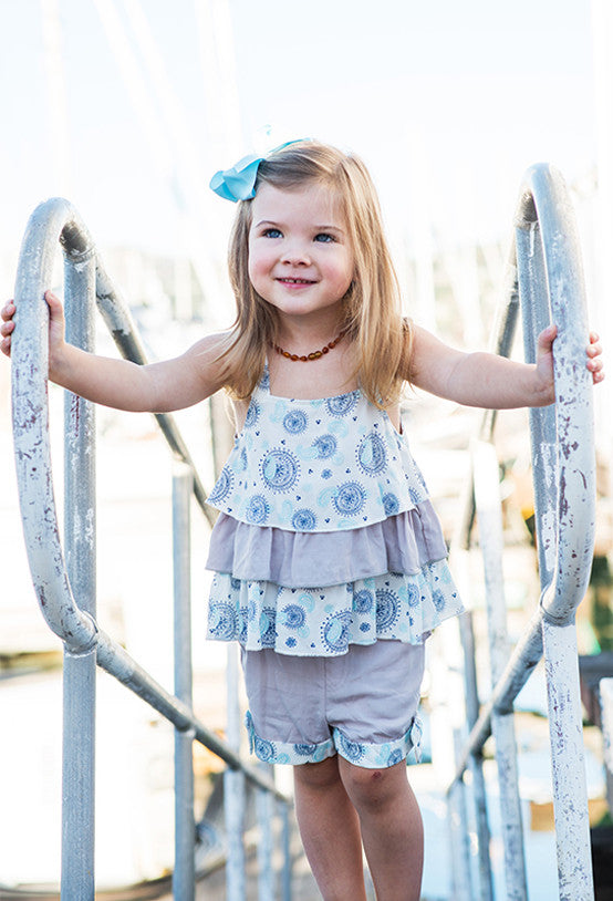 Girl's 3 tier blue and gray top & short set