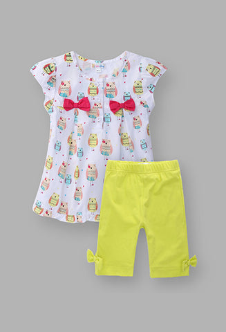 Baby Owl Girl's white top and yellow legging set