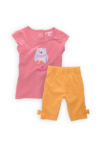Baby Girl Clothing Set, Pink Shirt and Orange Shorts