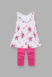 Girl's sets tunic with pleated neck trim and pink pants
