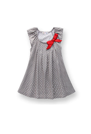 Girl's dress with bar tecked pleats