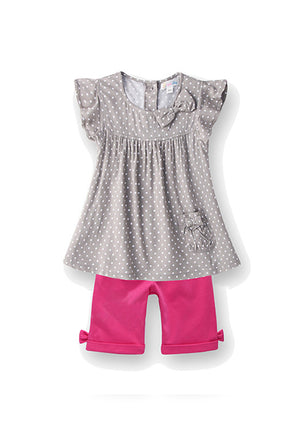 Girl's sets, 100% cotton tunic gray top and pants