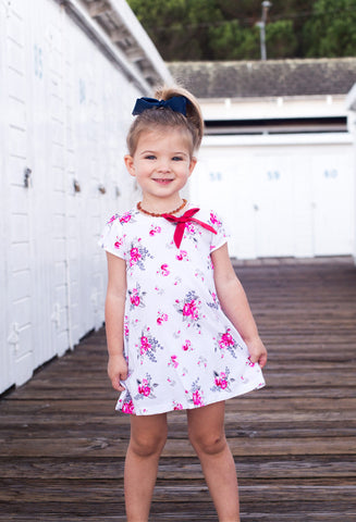 White Girl Dress with Floral Print