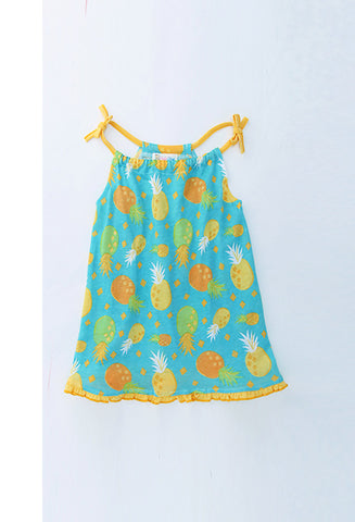 Girl's dress with pineapple print and contrast piquet trim