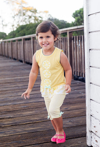 Girl's yellow sets with contrast piquet trim