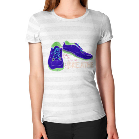 Show Up And Breathe Hug Fit T-Shirt Ash White Stripe - sunnybraveheart