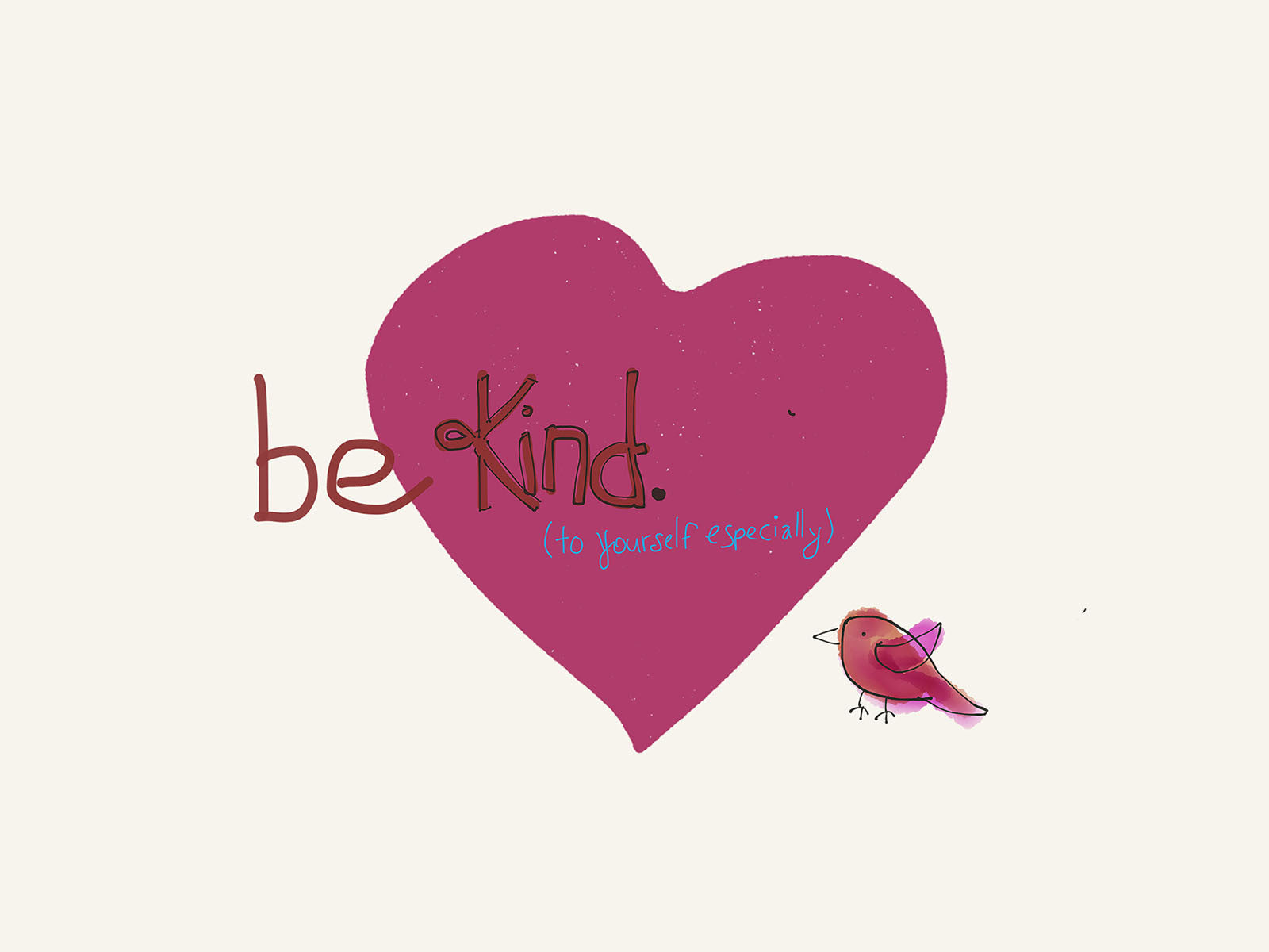 Be kind to yourself affirmation art watercolor bird heart