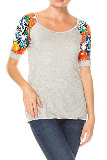 Floral pattern printed sleeve detail scoop neck top