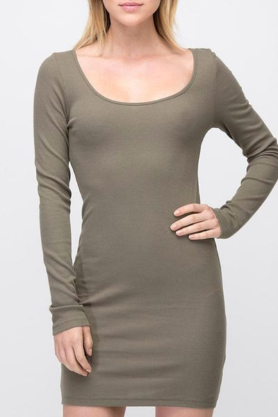 Solid Long Sleeve Ribbed Detail Dress - Destination Store