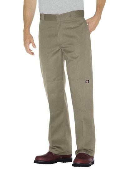 Loose fit double knee dickies pants khaki color style 85283 - Destination Store