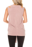Solid cutout shoulder top with self-tie front plus - Destination Store