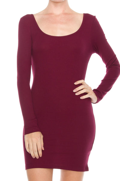 Solid Long Sleeve Ribbed Detail Dress