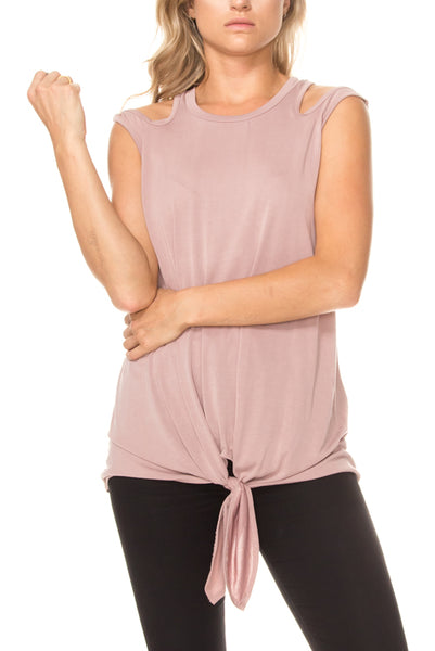 Solid cutout shoulder top with self-tie front plus