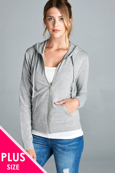 Long sleeve zipper french terry jacket w/ kangaroo pocket - Destination Store