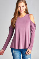 Long sleeve round neck open shoulder with  ribbon