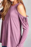 Long sleeve round neck open shoulder with  ribbon - Destination Store