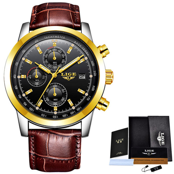LIGE Mens Watches Top Brand Luxury Leather Waterproof Sport Quartz Chronograph Military Wrist Watch Men Clock Relogio Masculino - Destination Store