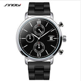 SINOBI brand chronograph quartz men's waterproof rubber strap sports watch