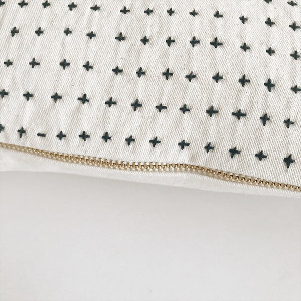 "Embroidered cross pillow cover with gold zipper 22"" - Andnest.com"