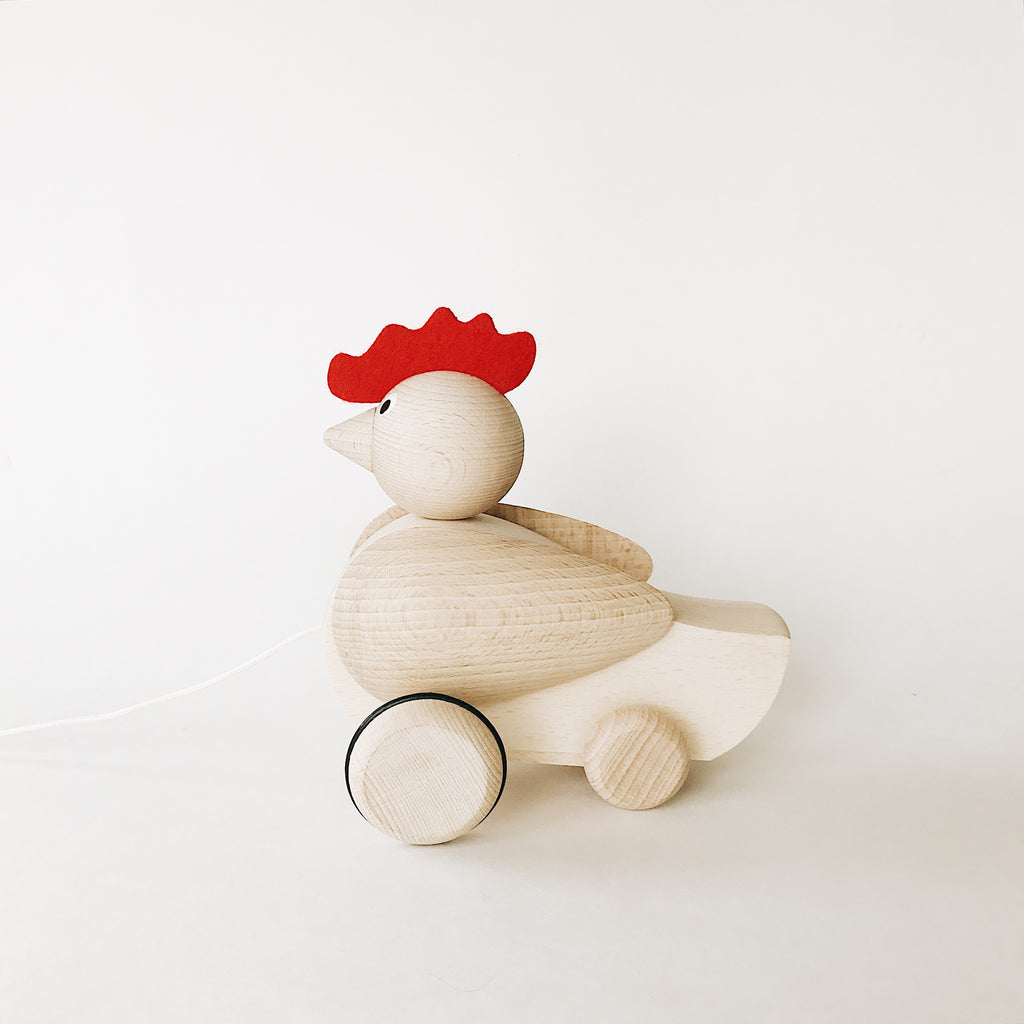 Wooden Pull-Along Rooster - Andnest.com
