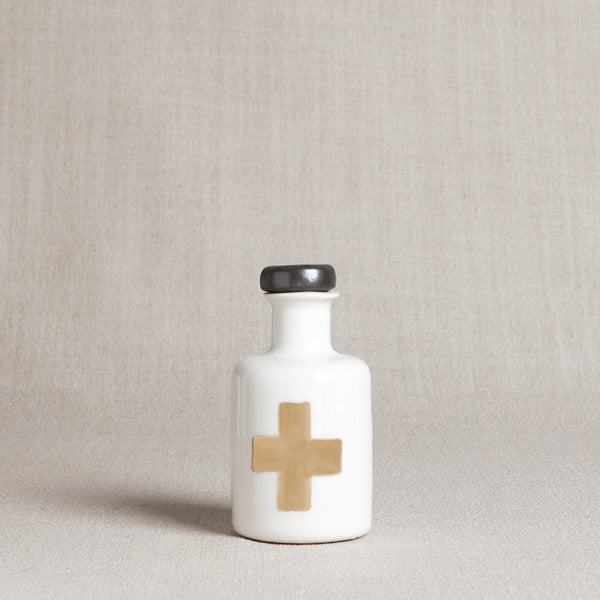 Apothecary Bottle with Gold Cross - Andnest.com