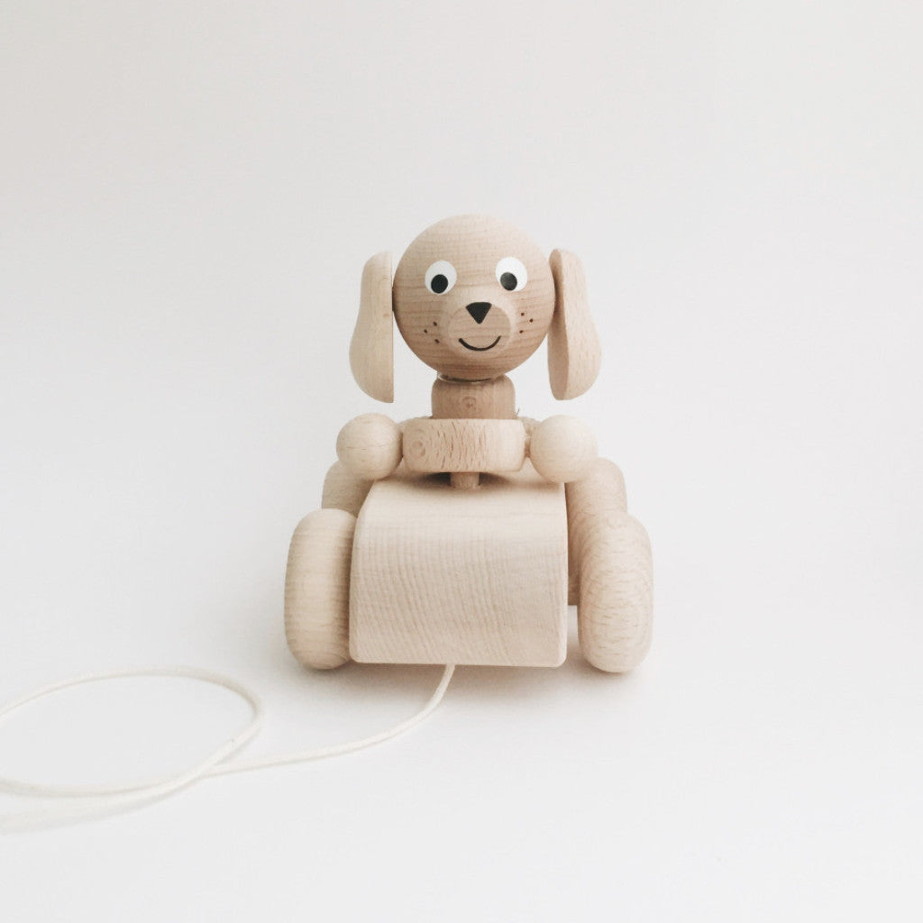 Wooden Pull-Along Puppy - Andnest.com