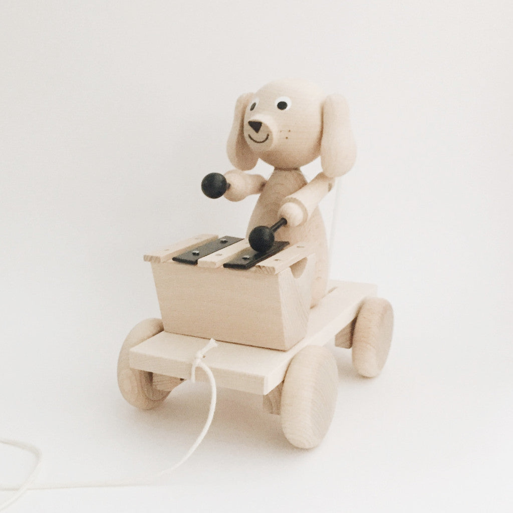 Wooden Pull-Along Puppy With Xylophone - Andnest