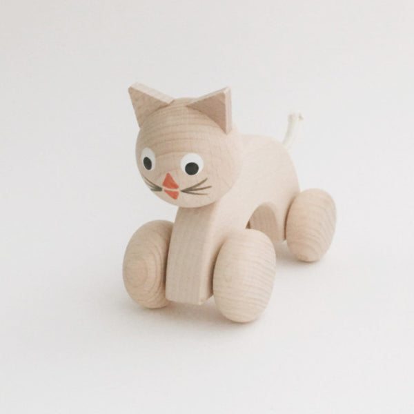Wooden Animals on Wheels - Kitty - Andnest