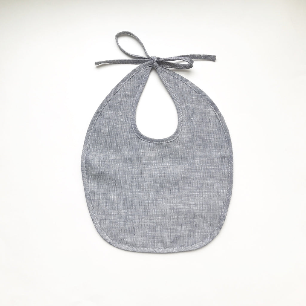 Linen & Organic Cotton Bib - Indigo or Natural - Andnest.com