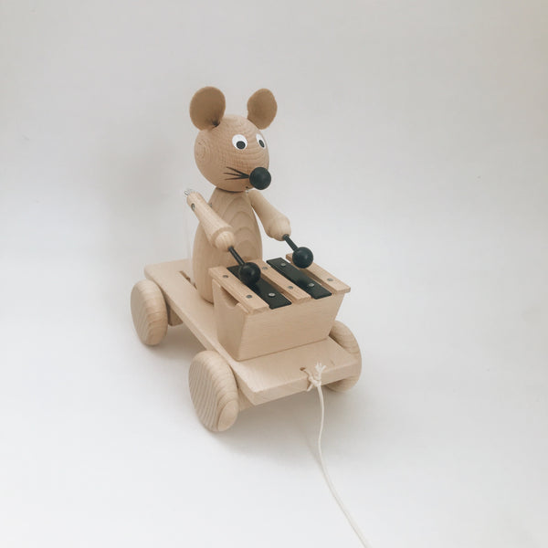 Wooden Xylophone Mouse Pull-Along - Andnest.com