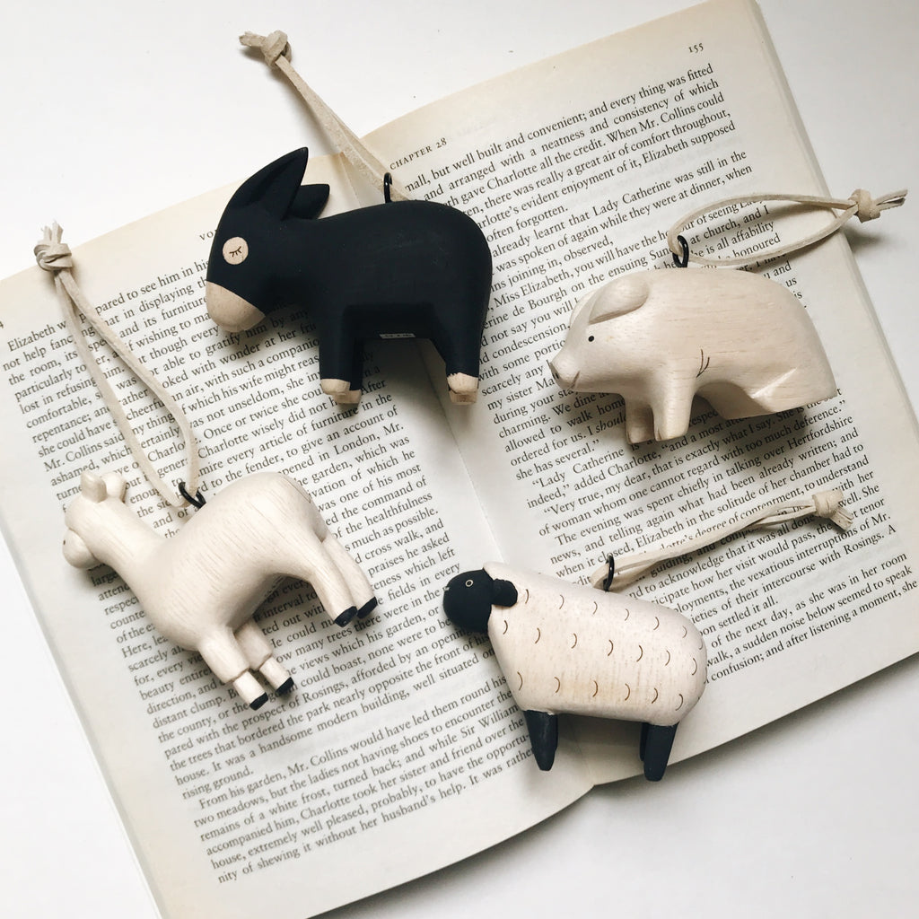 Farm Animal Ornaments - Sheep, Alpaca, Pig and Donkey