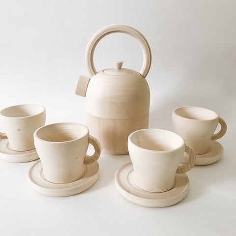 Wooden Tea Set - Tea pot, 4 cups and saucers - Andnest.com