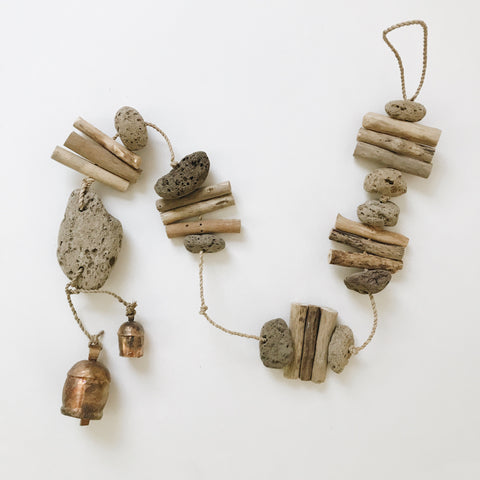 Driftwood Lava Rock Hanging With Rustic Bells - 36