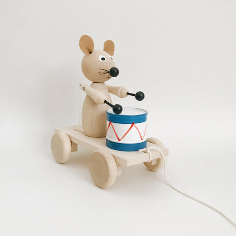 Wooden Drummer Mouse Pull-Along