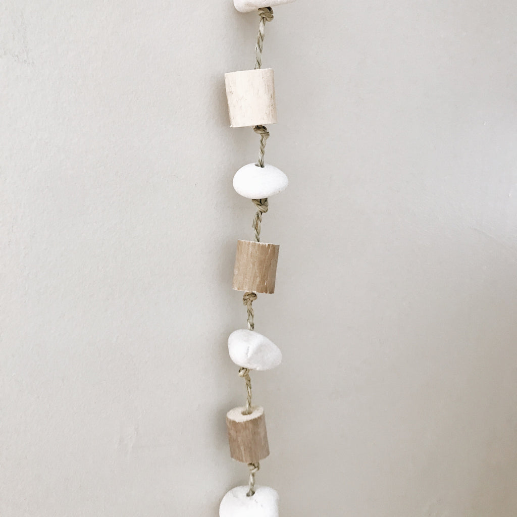 "Driftwood And River Rock Hanging With Rustic Bell - 40"" - Andnest.com"