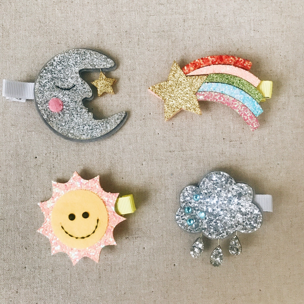 Glitter Rainbow, Cloud, Sun, Moon Hair Clip - Andnest.com