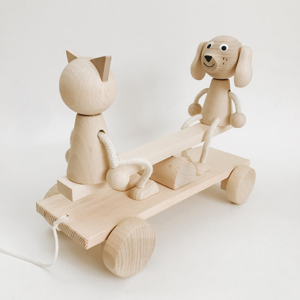 Wooden Cat and Dog Seesaw Pull Along