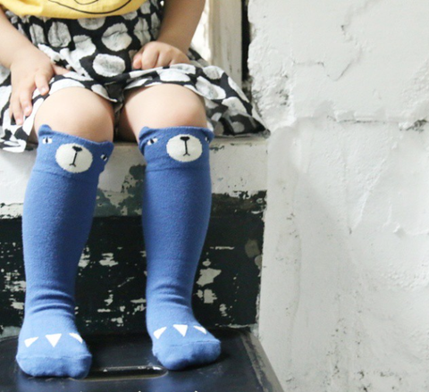 Blue Bear Knee High Socks - Andnest