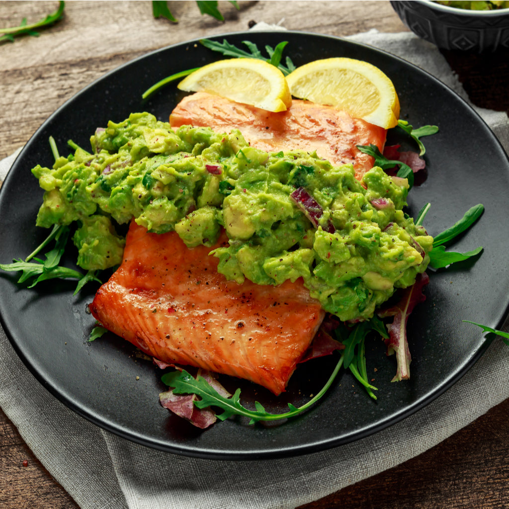 salmon and avocado, thicker hair