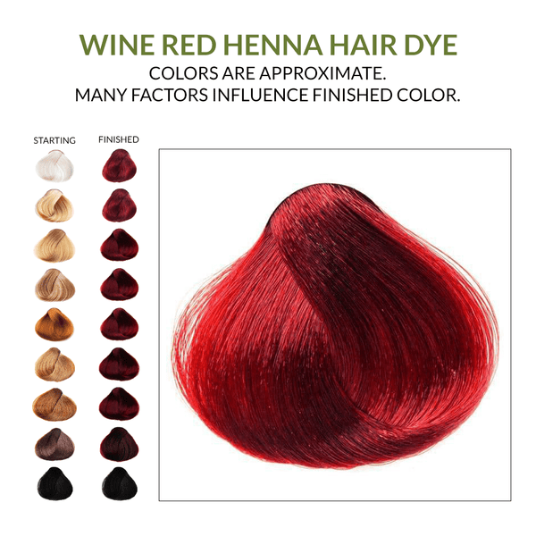 Wine Red Henna Hair Dye.