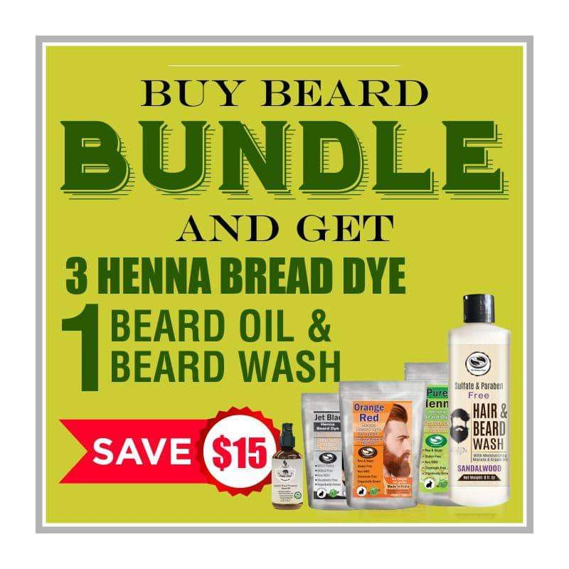 Henna Beard Dye - Bundle with Beard oil & Beard Wash