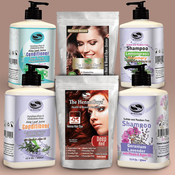 Henna hair dye, Shampoo & Conditioner Bundle