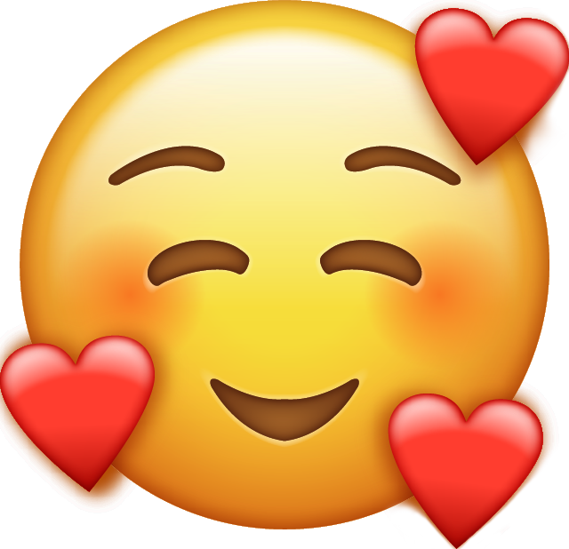 Smile Emoji With Hearts [Download Free Iphone Emoji in PNG]