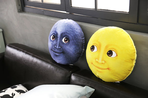 Moon Emoji Pillow - Blue & Yellow