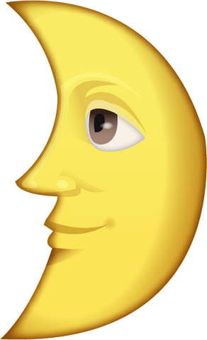 Download First Quarter Moon With Face Emoji PNG