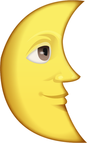 Download Last Quarter Moon With Face Emoji PNG