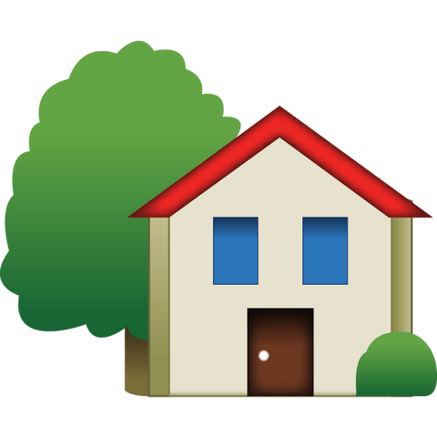 download house emoji with tree Icon