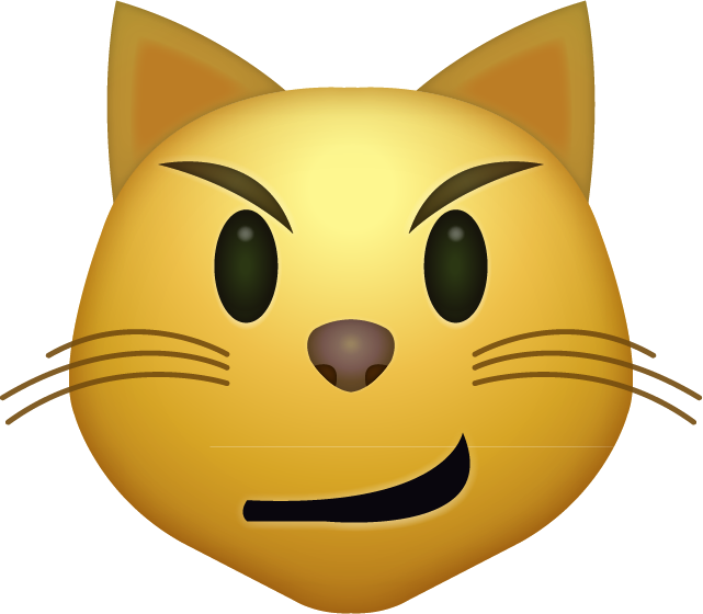 Download Smirk Cat Emoji face [Iphone IOS Emojis in PNG]