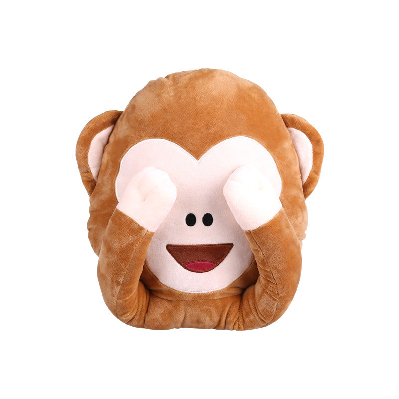 Monkey emoji pillow - see no evil