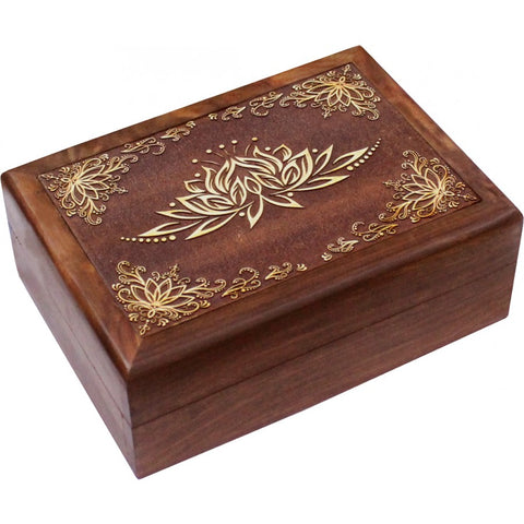 Lotus Carved Wooden Box